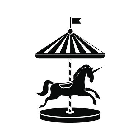 carousel horse: Carousel with horses black simple icon isolated on white background Illustration