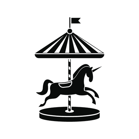 Carousel with horses black simple icon isolated on white background Illustration