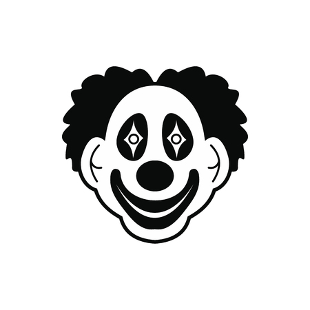 black wigs: Clown black simple icon isolated on white background