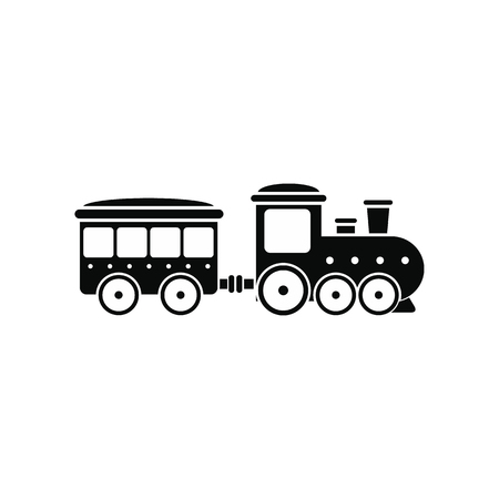 Train in amusement park black simple icon isolated on white background