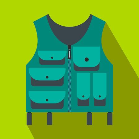 fisher man: Hunter vest flat icon on a green background Illustration