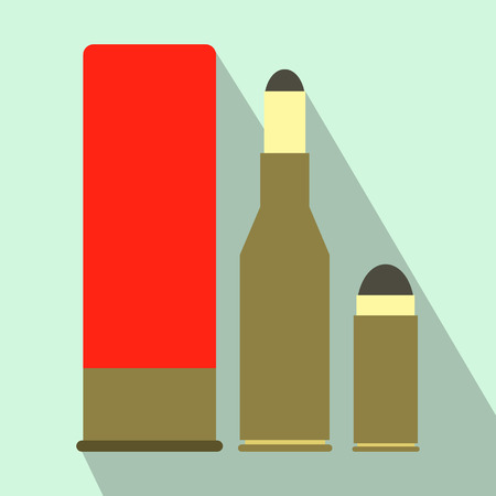 dead duck: Shotgun shell and bullets flat icon on a light blue background