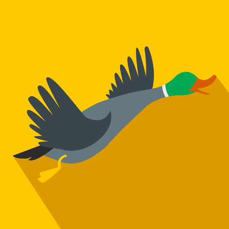 Wild duck flat icon on a yellow background