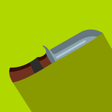 butcher knife: Hunting knife flat icon on a green background
