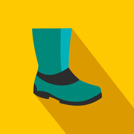 gum boots: Rubber boots flat icon on a yellow background