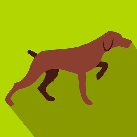 chasing tail: Hunting dog flat icon on a green background