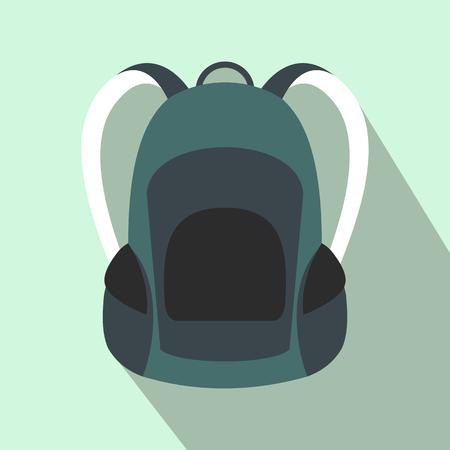 mochila de viaje: mochila turística icono de plano sobre un fondo azul claro Vectores