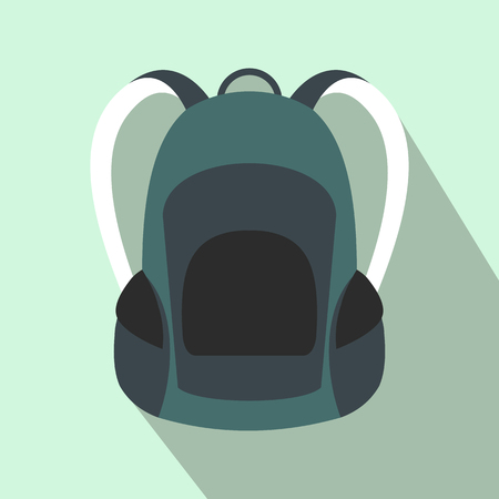 backpack: mochila turística icono de plano sobre un fondo azul claro Vectores
