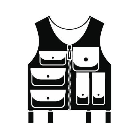 vest in isolated: Hunter vest black simple icon isolated on white background Illustration