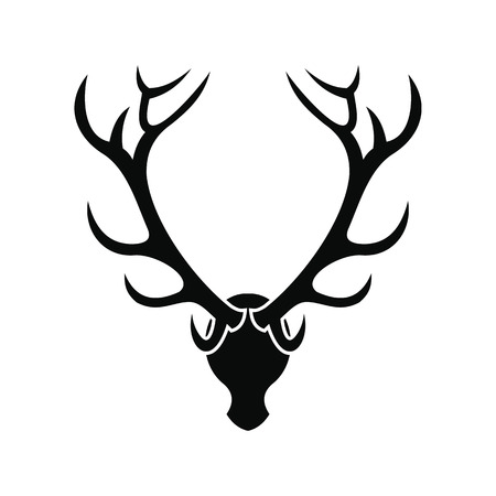 wildlife shooting: Deer head black simple icon isolated on white background