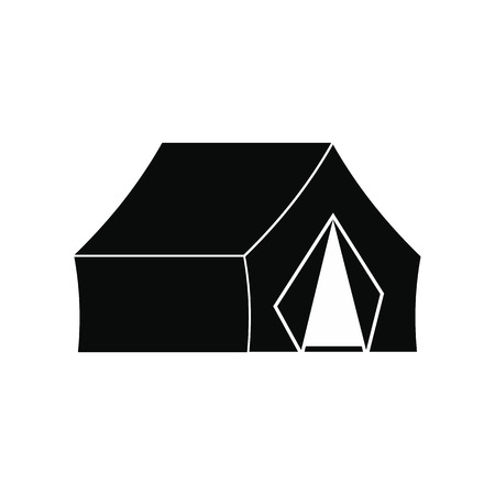 refuge: Hunting tent black simple icon isolated on white background