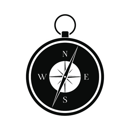 old compass: Compass black simple icon isolated on white background