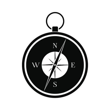 Compass nero semplice icona isolato su sfondo bianco