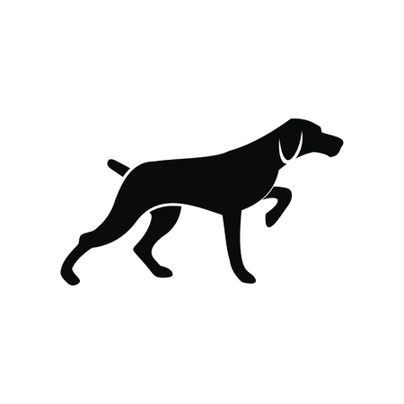 hunting dog: Hunting dog black simple icon isolated on white background