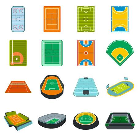 iconos planos del estadio conjunto aislado sobre fondo blanco