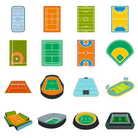 soccer stadium: Stadium flat icons set isolated on white background
