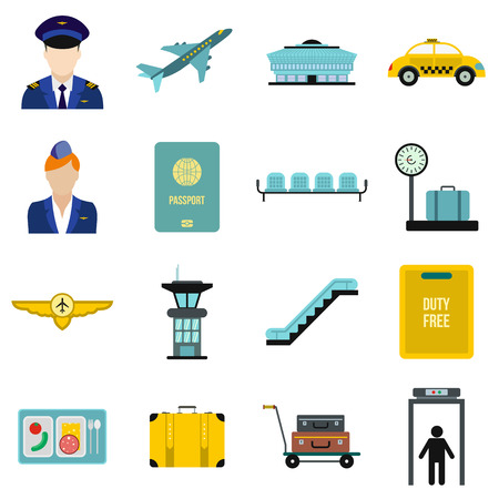 set going: Airport flat icons set isolated on white background