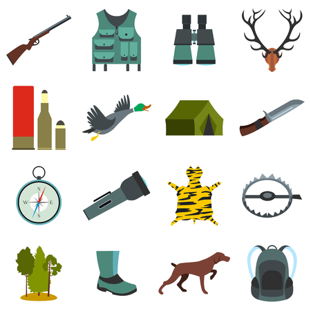 fusil de chasse: Chasse icônes plates set isolé sur fond blanc Illustration