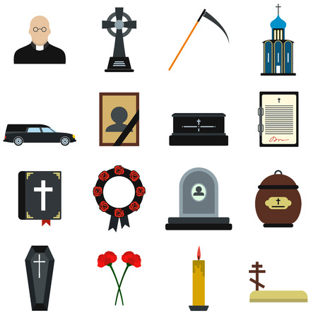 obituary: Funeral and burial flat icons set isolated on white background