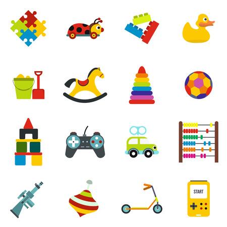 Juguetes iconos planos del conjunto aislado sobre fondo blanco