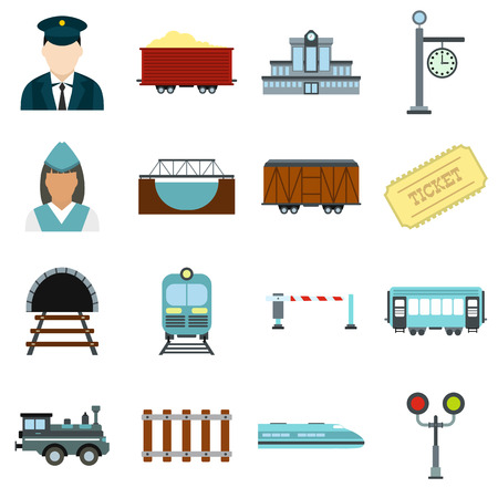 railroad crossing: Railroad flat icons set isolated on white background