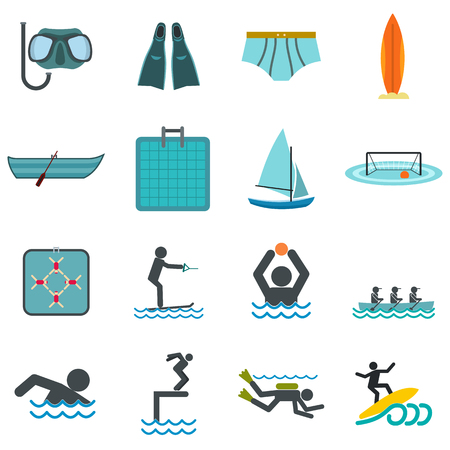 kite surf: Water sport flat icons set isolated on white background