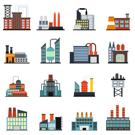 iconos planos de fábrica edificio industrial conjunto aislado sobre fondo blanco