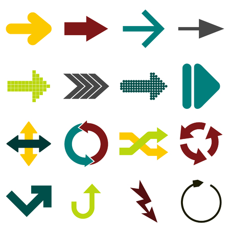 Arrow sign flat icons set isolated on white background