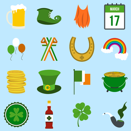 st patrick: St Patrick Day flat icons set for web and mobile devices