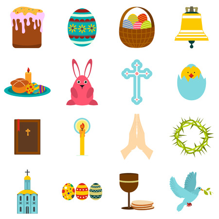 easter cross: Easter flat icons set isolated on white background