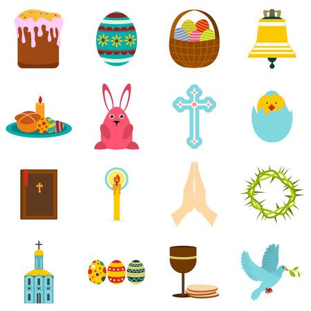 pascuas navideÑas: iconos planos de Pascua conjunto aislado sobre fondo blanco Vectores