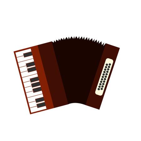 concertina: Accordion flat icon isolated on white background Illustration