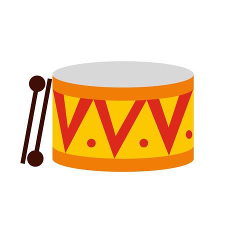 bateria musical: Tambor icono plana aislada en el fondo blanco