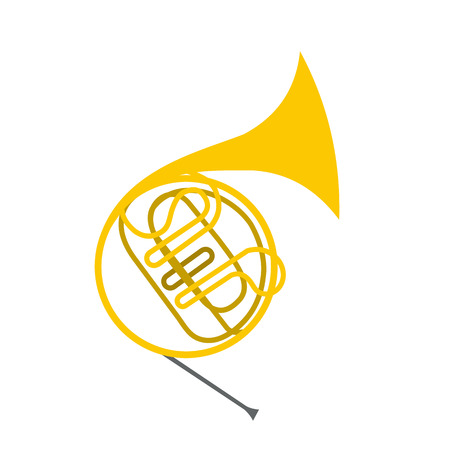 saxhorn: French horn flat icon isolated on white background