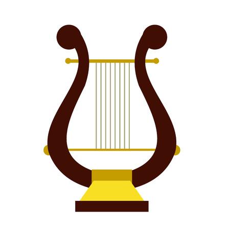 lyre: Lyre flat icon isolated on white background Illustration