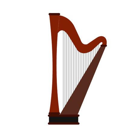 the harp: Arpa icono plana aislada en el fondo blanco