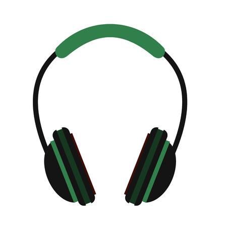 audifonos: Auriculares icono plana aislada en el fondo blanco