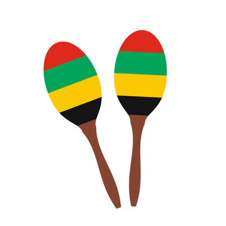 2 maracas flat icon isolated on white background