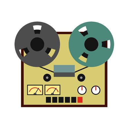 hi fi: Reel tape recorder flat icon isolated on white background