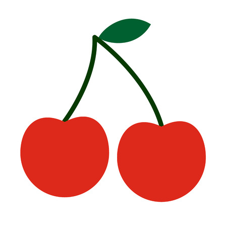 closeup: Cherry flat icon isolated on white background