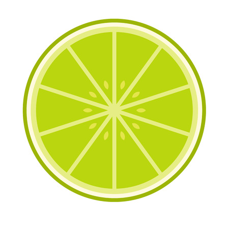 lemon lime: Sliced lime flat icon isolated on white background Illustration