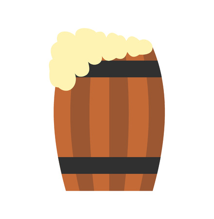 wood creeper: Keg of beer flat icon isolated on white background