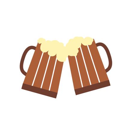 cerveza: Dos vidrios o jarras de cerveza icono de pantalla plana conjunto aislado en el fondo blanco Vectores
