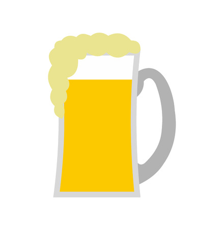 beer label design: Glass of beer flat icon isolated on white background