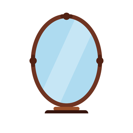 vanity: Mirror flat icon isolated on white background