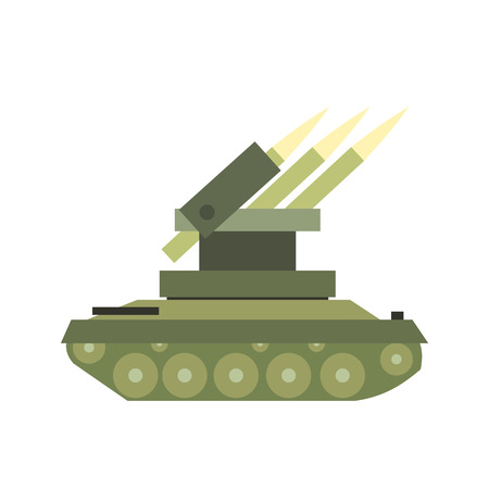 anti aircraft missiles: Anti-aircraft warfare flat icon isolated on white background
