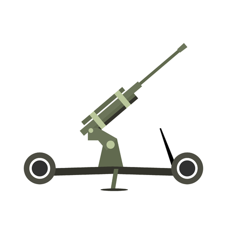howitzer: Howitzer artillery flat icon isolated on white background