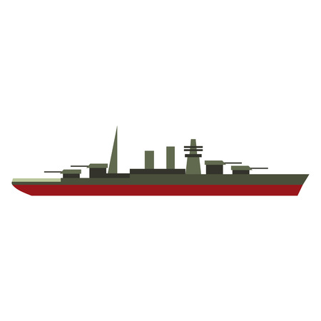 turret: Warship flat icon isolated on white background