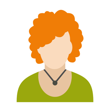 redhead woman: Redhead woman avatar icon isolated on white background