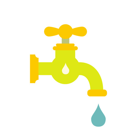 creation of sites: Save water flat icon isolated on white background